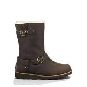 UGG Noira Waterproof Brown Leather Shearling Boots
